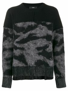 Diesel loose-fit panelled jumper - Black