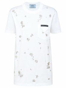 Prada floral embellished T-shirt - White
