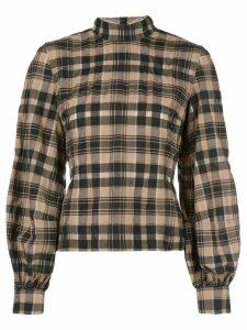 GANNI seersucker checked blouse - Brown
