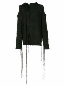 Yohji Yamamoto distressed style sweater - BLACK
