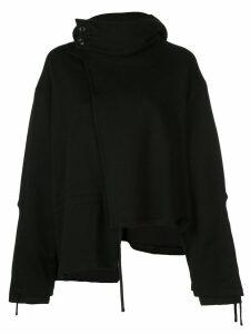 Yohji Yamamoto asymmetric style hoodie - Black