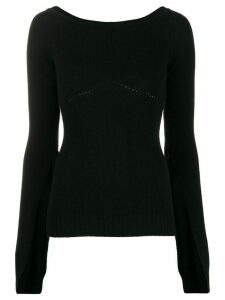 Nº21 boat-neck cashmere knit top - Black