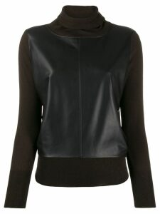 Snobby Sheep leather panel jumper - Brown