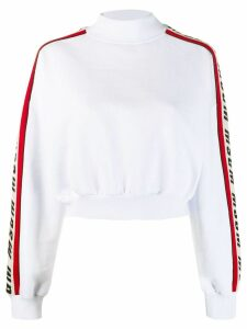 MSGM logo stripe sweatshirt - White