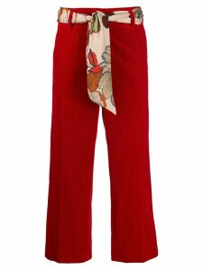 Cambio scarf belt cropped trousers - Red