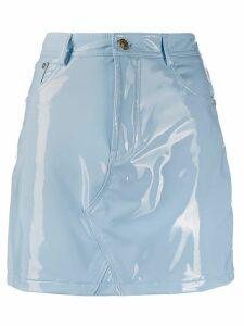 Chiara Ferragni vinyl fitted mini skirt - Blue