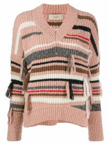 Maison Flaneur striped ribbed knit sweater - PINK