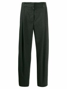 Maison Flaneur pinstriped high-waisted trousers - Grey