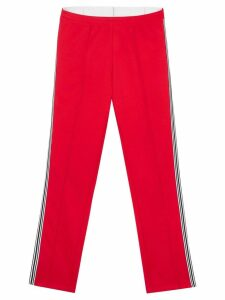 Burberry stripe detail double-waist jersey trackpants - Red