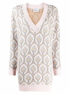 be blumarine be oversized embroidered jumper 8320 01301 ROSA/ARGENTO