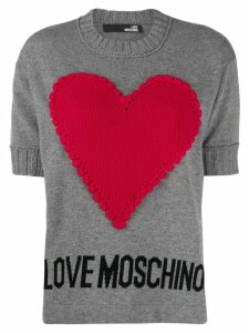Love Moschino heart-appliquéd jumper - Grey