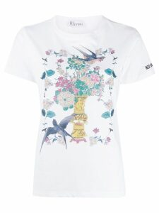 Red Valentino floral bird scene T-shirt - White