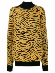 Kwaidan Editions knitted tiger rollneck jumper - Yellow