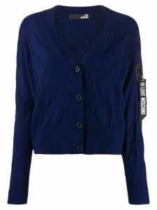 Love Moschino wave-embellished cardigan - Blue