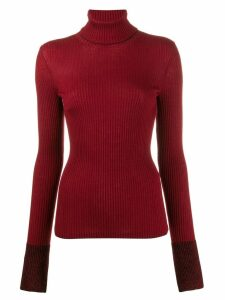 MRZ ribbed roll neck jumper - Red