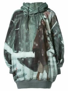 Undercover oversized printed hoodie - Green