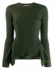 Alberta Ferretti ribbed knit peplum sweater - Green