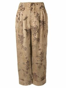 Uma Wang turned-up floral print trousers - NEUTRALS