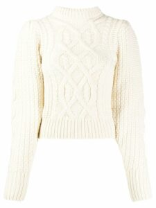 Wandering cable knit jumper - White