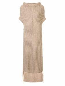 Uma Wang long roll neck poncho - Brown