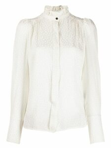 Isabel Marant micro-pattern frill neck blouse - White