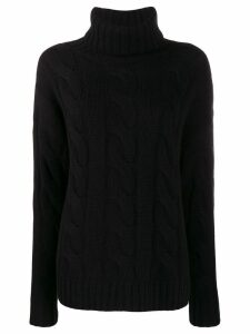 Nili Lotan roll neck cable knit sweater - Black