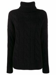 Nili Lotan roll neck cable knit sweater - Black