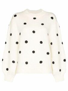 Rixo Ariana polka-dot sweater - White