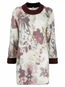 Antonio Marras floral print long jumper - White