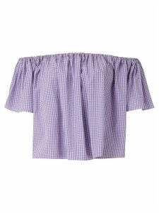 Andrea Bogosian off the shoulder check blouse - PURPLE