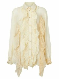 Burberry Ruffle Detail Crepe De Chine Oversized Blouse - NEUTRALS