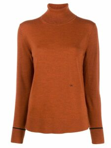 Calvin Klein logo turtleneck jumper - ORANGE