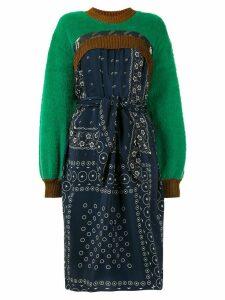Kolor contrast print textured dress - Green