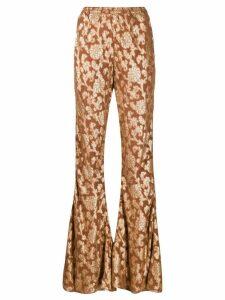 Mes Demoiselles floral print flared trousers - NEUTRALS