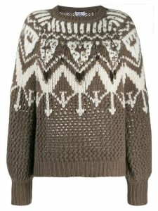 Brunello Cucinelli embellished chunky knit sweater - Brown
