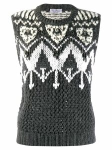 Brunello Cucinelli embellished sweater vest - Grey