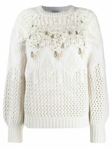 Brunello Cucinelli embellished knit sweater - NEUTRALS