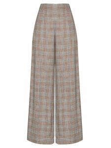 Roland Mouret Tayport wide-leg checked trousers - PINK