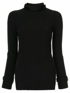 System side-slit rollneck sweater - Black
