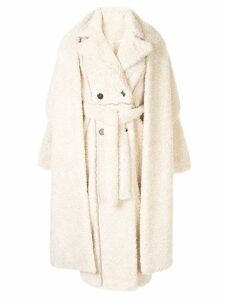 Ruban layered faux-fur coat - White