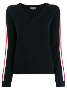N.Peal cashmere side stripe jumper - Blue