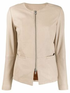 S.W.O.R.D 6.6.44 zipped leather jacket - NEUTRALS