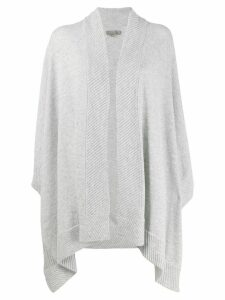 N.Peal cashmere diagonal ribbed cape - Grey
