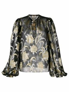 Saint Laurent floral embroidery blouse - Black