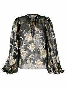 Saint Laurent floral embroidery blouse - Black