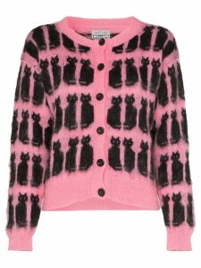 Ashley Williams intarsia knit cat motif cardigan - PINK