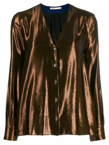 Indress V-neck long sleeve blouse - Brown
