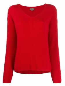 N.Peal boxy v-neck jumper - Red