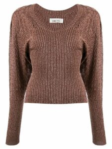 Circus Hotel v-neck glittery jumper - Brown
