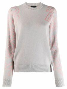 Emporio Armani oversized logo printed jumper - Grey
